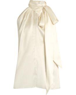 Tie-neck Silk-satin Sleeveless Blouse