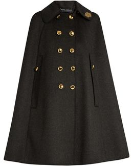 Embellished-collar Wool Cape