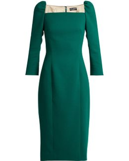 Square-neck Stretch-wool Pencil Dress