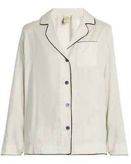 Cara Pinstriped Silk-satin Pyjama Shirt