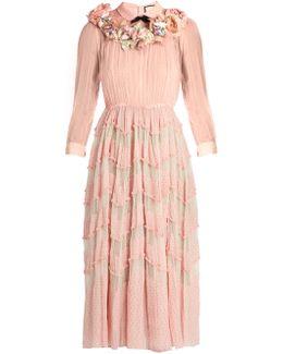 Floral-embellished Silk-blend Plumetis Gown