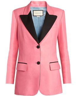 Peak-lapel Single-breasted Leather Jacket