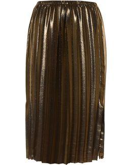 Malden Pleated Lamé Midi Skirt