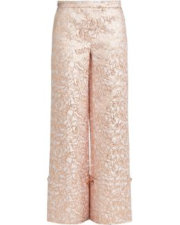 Leaf-brocade Turn-up Trousers