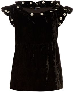 Mickey Ruffle-trimmed Embroidered Silk-velvet Top