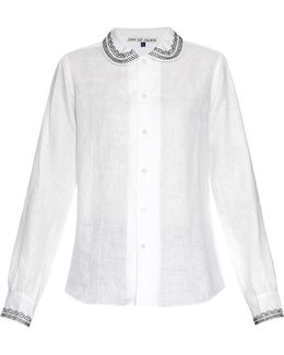 Nellie Embroidery-trimmed Linen Shirt