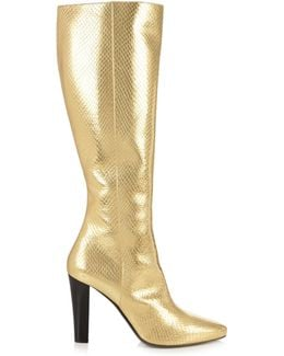 Lily 95 Snakeskin-Print Leather Knee-High Boots
