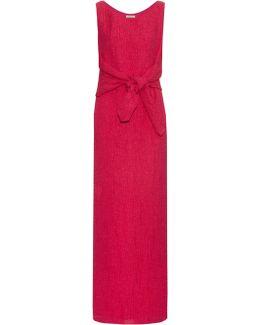 Tie-waist Silk-blend Cloqué Gown