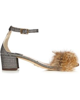 Tufted Dhara Brocade And Fox-fur Sandals