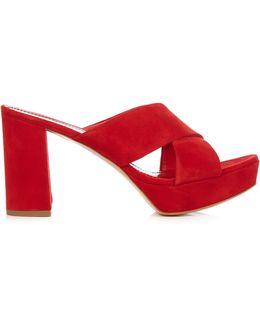 Platform Suede Crossover Sandals