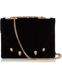 Paw-Effect Velvet Cross-Body Bag