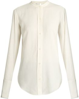 Back-knot Raw-edge Blouse