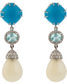 Diamond, Turquoise, Opal & White-gold Earrings
