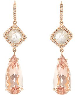 Diamond, Morganite & Pink-gold Earrings
