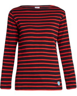 Breton-striped Cotton And Wool-blend Top