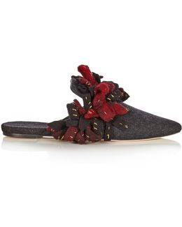 Addobbi Fringed Felt Slipper Shoes