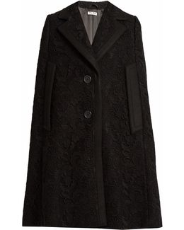 Notch-lapel Guipure-lace And Wool Cape