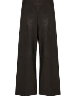 Cropped Wide-leg Leather Trousers