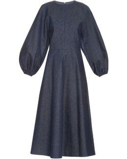 Cora Balloon-sleeved Denim Midi Dress