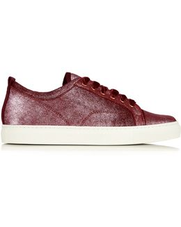 Metallic-leather Low-top Trainers