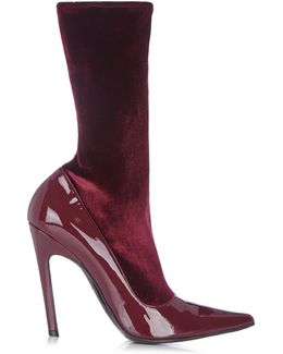 Boudoir Velvet And Leather Ankle Boots