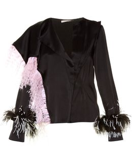 Feather-Embellished Satin Blouse