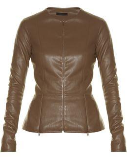 Anasta Collarless Leather Jacket