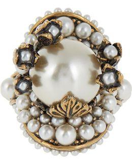 Pearl-effect Embellished Flower Ring