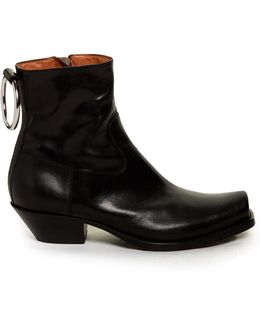 Metal-ring Leather Ankle Boots