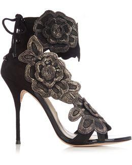 Winona Floral-appliqué Suede Sandals