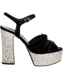 Candy Bow-detail Velvet Platform Sandals