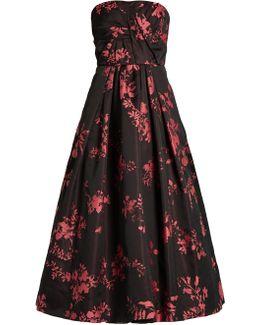 Floral-jacquard Crepe De Chine Gown
