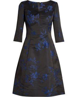 Floral-Embroidered Duchess-Satin Dress