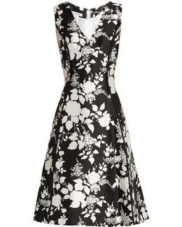 Rosebush-print Sleeveless Silk-blend Dress