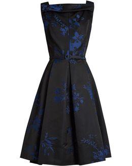 Floral-jacquard Satin Dress