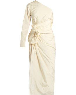 One-shouldered Taffeta Dress