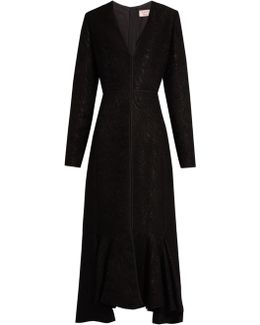 V-neck Wool-blend Moiré Dress