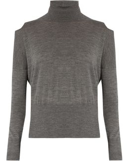 Cut-Out Shoulder Roll-neck Wool Sweater