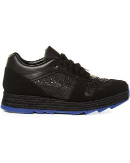 Macy Lace-panel Faux-leather Trainers