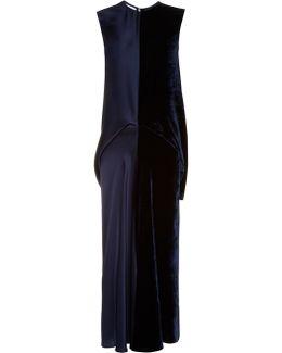 Slit-backed Velvet And Satin Dress