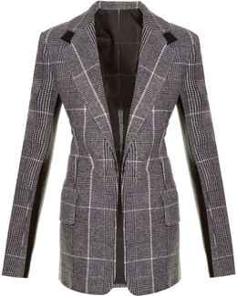 Leather-Panel Checked Wool Blazer