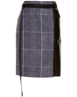 Leather-panel Checked Wool Skirt