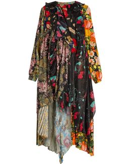 Romantic Ascot Patchwork Midi Dress