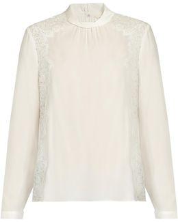 Lace-panel Silk Blouse