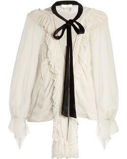 Ruffle-trimmed Oversized Silk-crepon Blouse