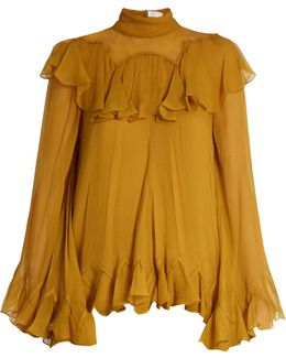 High-neck Silk-crepon Ruffled Blouse