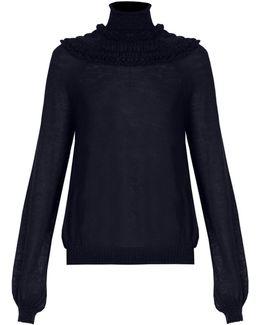 Gathered Semi-sheer Sweater