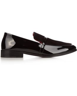 Melanie Patent-leather And Suede Loafers