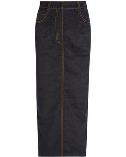 Velvet-touch Denim Pencil Skirt