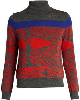 Zebra-intarsia Wool Sweater